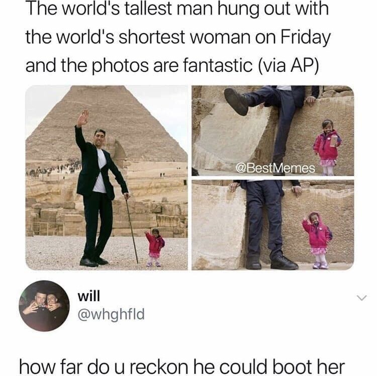 Text - The world's tallest man hung out with the world's shortest woman on Friday and the photos are fantastic (via AP) @BestMemes will @whghfld how far do u reckon he could boot her