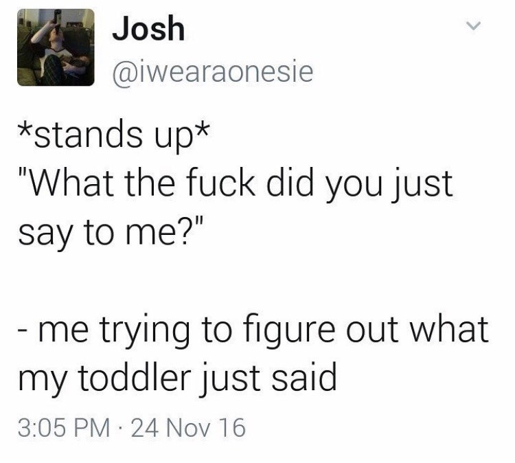 """Text - Josh @iwearaonesie *stands up* """"What the fuck did you just say to me?"""" -me trying to figure out what my toddler just said 3:05 PM 24 Nov 16"""