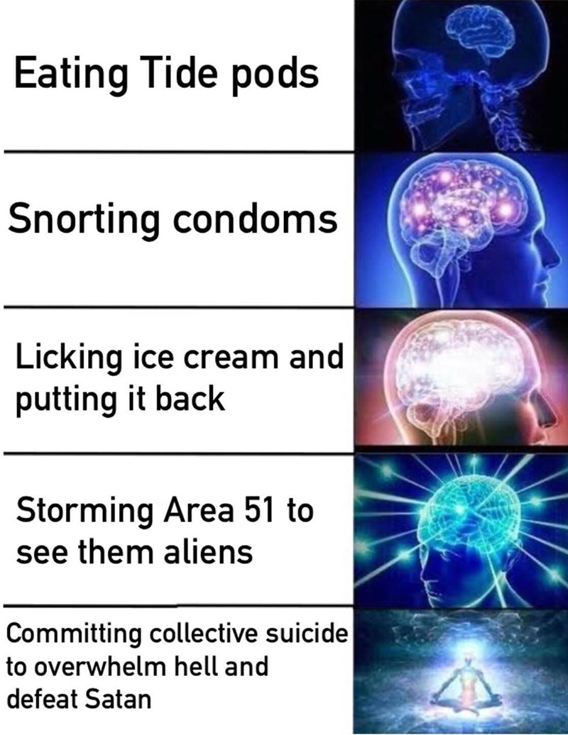 Medical imaging - Eating Tide pods Snorting condoms Licking ice cream and putting it back Storming Area 51 to see them aliens Committing collective suicide to overwhelm hell and defeat Satan