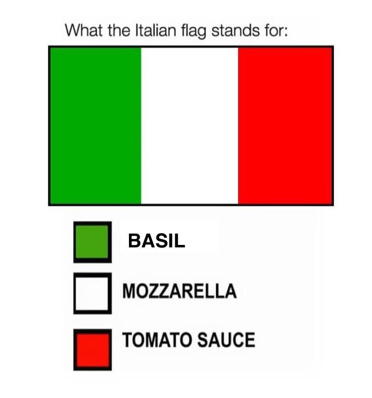 Text - What the Italian flag stands for: BASIL MOZZARELLA TOMATO SAUCE