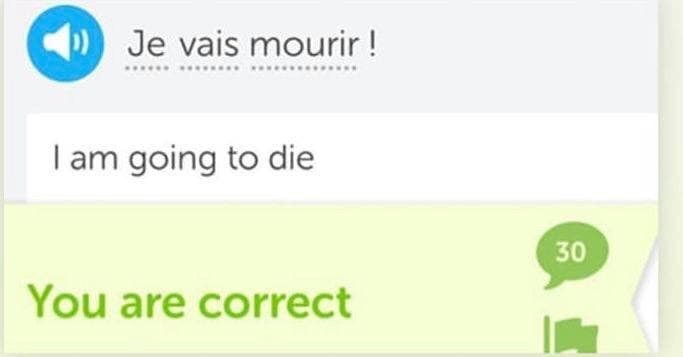 Green - Je vais mourir! I am going to die 30 You are correct