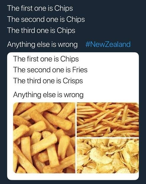 Junk food - The first one is Chips The second one is Chips The third one is Chips #NewZealand Anything else is wrong The first one is Chips The second one is Fries The third one is Crisps Anything else is wrong