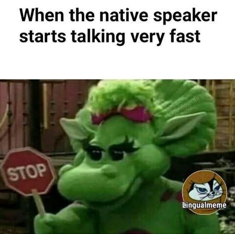 Fictional character - When the native speaker starts talking very fast STOP Lingualmeme