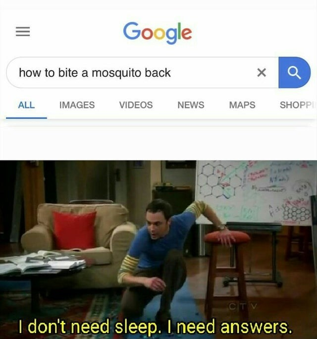 Text - Google how to bite a mosquito back X ALL VIDEOS IMAGES NEWS MAPS SHOPP CITV I don't need sleep. I need answers