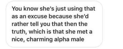 Text - You know she's just using that as an excuse because she'd rather tell you that then the truth, which is that she met a nice, charming alpha male