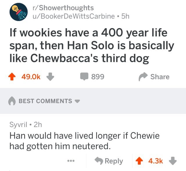 Text - r/Showerthoughts u/BookerDeWittsCarbine 5h If wookies have a 400 year life span, then Han Solo is basically like Chewbacca's third dog 49.0k 899 Share BEST COMMENTS Syvril 2h Han would have lived longer if Chewie had gotten him neutered. Reply 4.3k