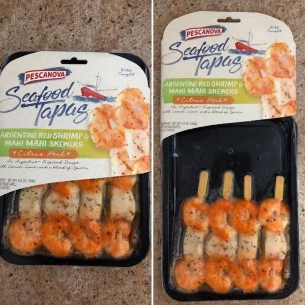 Food - ade Cangle PESCANOVA Seafied Tapas Ad Cangle PESCANOVA Seafood Tapag ARGENTINE RED SHRIMP MAHI MAHI SKEWERS r Citrus Herk gtntine- d eian P EATE rcooD ARGENTINE RED SHRIMPS MAHI MAHI SKEWERS Citrus Her yeadae- d e R MET WT 550 (184 EFRIGERATED COOKED