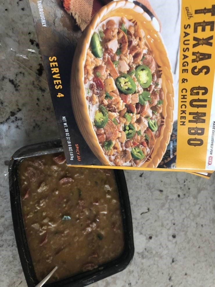 Food - TEXAS GUMBO HABE EXCLUSIVELY FOR E sith SAUSAGE & CHICKEN SERVING SUGGESTIN SPICY NET WT 38 0Z (2 LB 6 02) 1.07kg SERVES 4 THOROUGHLY
