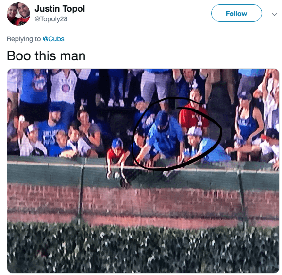 Product - Justin Topol Follow @Торoly28 Replying to @Cubs Boo this man