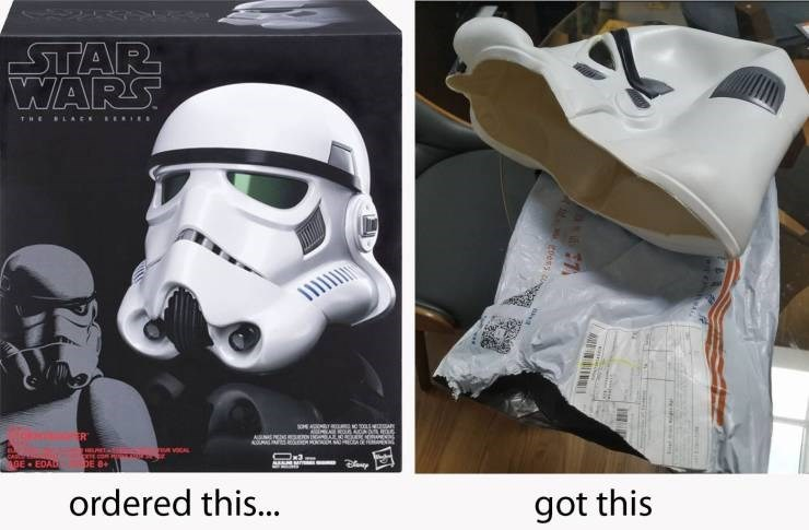 Expectation Vs Reality - Helmet - STAR WARS THEBLACE ERIE ASUNAE NNAh na HILRET-S CAl BE EDAL DE 8+ ordered this... got this