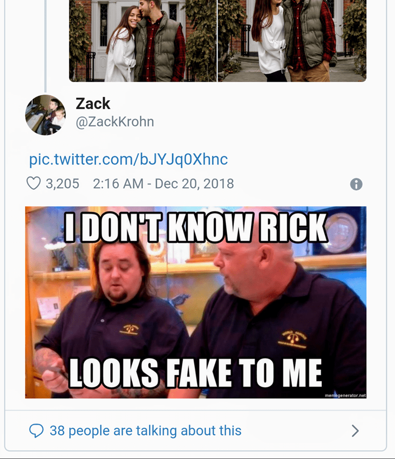 """Tweet - """"I DONT KNOW RICK LOOKS FAKE TO ME"""""""
