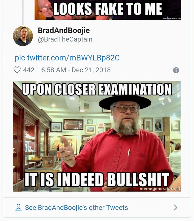 Photo caption - LOOKS FAKE TO ME memegenerator.net BradAndBoojie @BradTheCaptain pic.twitter.com/mBWYLBp82C 442 6:58 AM - Dec 21, 2018 UPON CLOSER EXAMINATION IT IS INDEED BULLSHIT memegenerator.net See BradAndBoojie's other Tweets