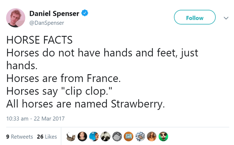 """Text - Daniel Spenser Follow @DanSpenser HORSE FACTS Horses do not have hands and feet, just hands. Horses are from France. Horses say """"clip clop."""" All horses are named Strawberry. 10:33 am 22 Mar 2017 9 Retweets 26 Likes"""