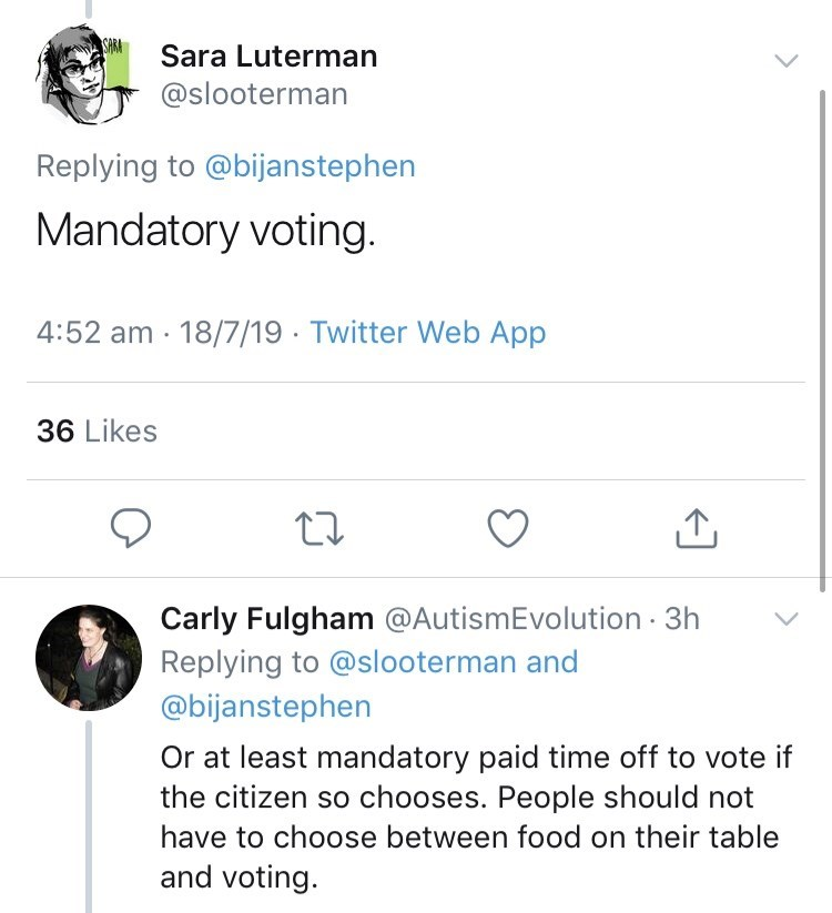 genius dumb idea - Text - SARA Sara Luterman @slooterman Replying to @bijanstephen Mandatory voting. 4:52 am 18/7/19 Twitter Web App 36 Likes Carly Fulgham @AutismEvolution 3h Replying to @slooterman and @bijanstephen Or at least mandatory paid time off to vote if the citizen so chooses. People should not have to choose between food on their table and voting.