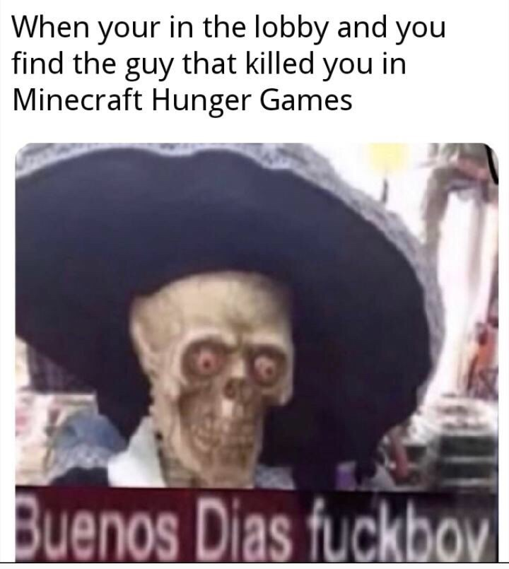 Photo caption - When your in the lobby and you find the guy that killed you in Minecraft Hunger Games Buenos Dias fuckbov