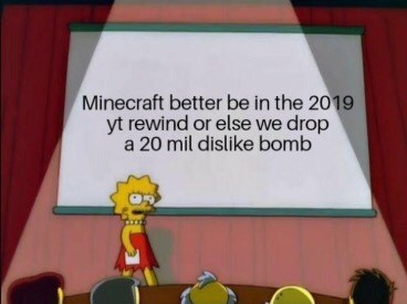 Cartoon - Minecraft better be in the 2019 yt rewind or else we drop a 20 mil dislike bomb