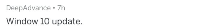 White - DeepAdvance 7h Window 10 update.