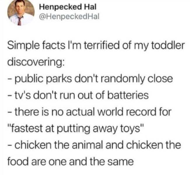 "Text - Henpecked Hal @HenpeckedHal Simple facts I'm terrified of my toddler discovering: -public parks don't randomly close -tv's don't run out of batteries - there is no actual world record for ""fastest at putting away toys"" -chicken the animal and chicken the food are one and the same"