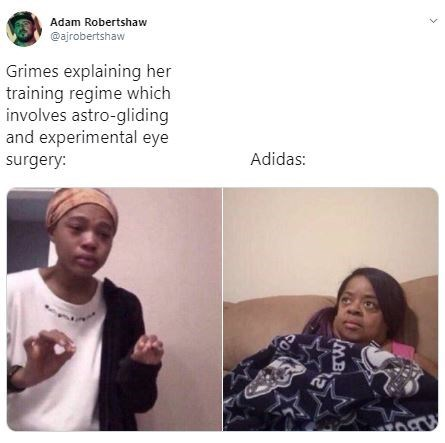 "Meme - 'Me Explaining Things to My Mom"" - ""Grimes explaining her training regime which involves astro-gliding and experimental eye Adidas"""
