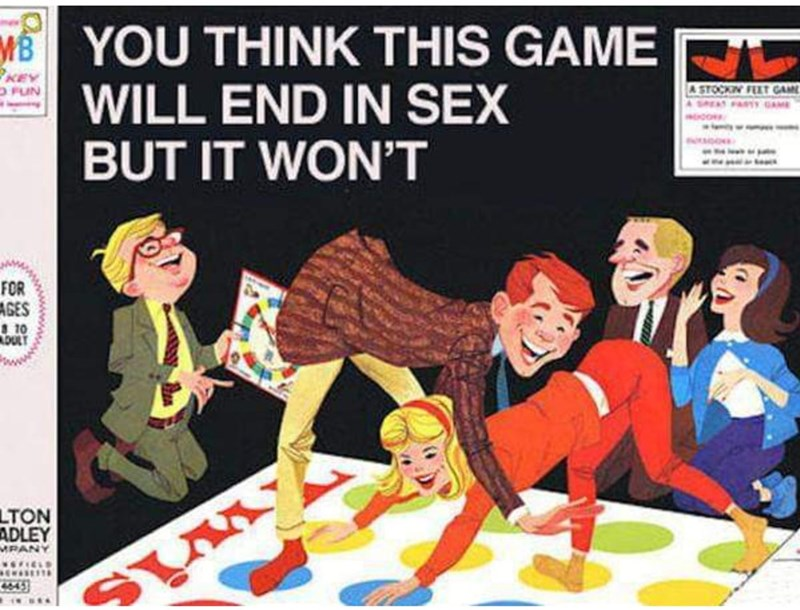 Cartoon - MYOU THINK THIS GAME RC WILL END IN SEX BUT IT WON'T KEY O FUN A STOCKIN FEET GAM SMAT FT GAME www.w x FOR AGES 10 DULT LTON ADLEY MPANY 643 SM