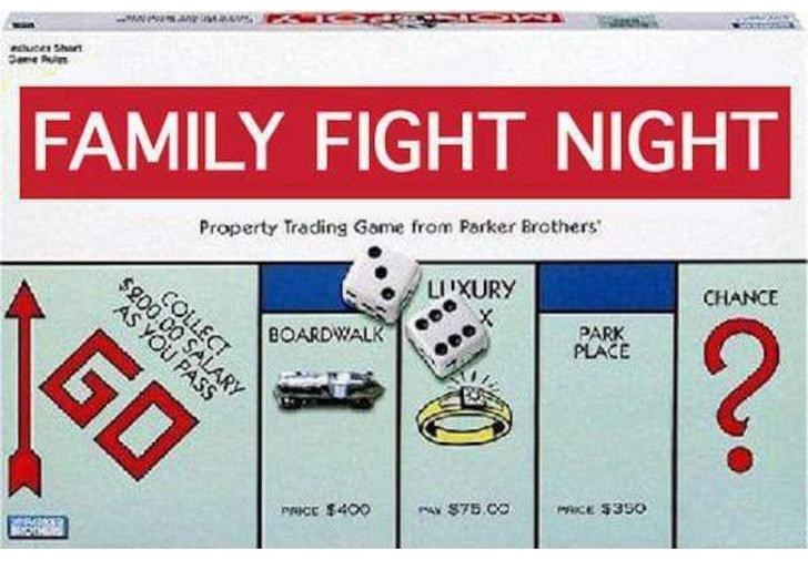 Games - uces Shat FAMILY FIGHT NIGHT CHANCE Property Trading Game from Parker Brothers ? LUXURY PARK PLACE COLLECT $200.00 SALARY G AS YOU PASS BOARDWALK CE $350 PA $75.CO PRICE $400 O