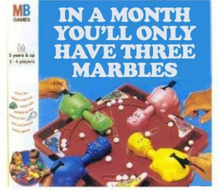 Toy - MB IN A MONTH YOU'LL ONLY HAVE THREE MARBLES GAMES 3 years& up