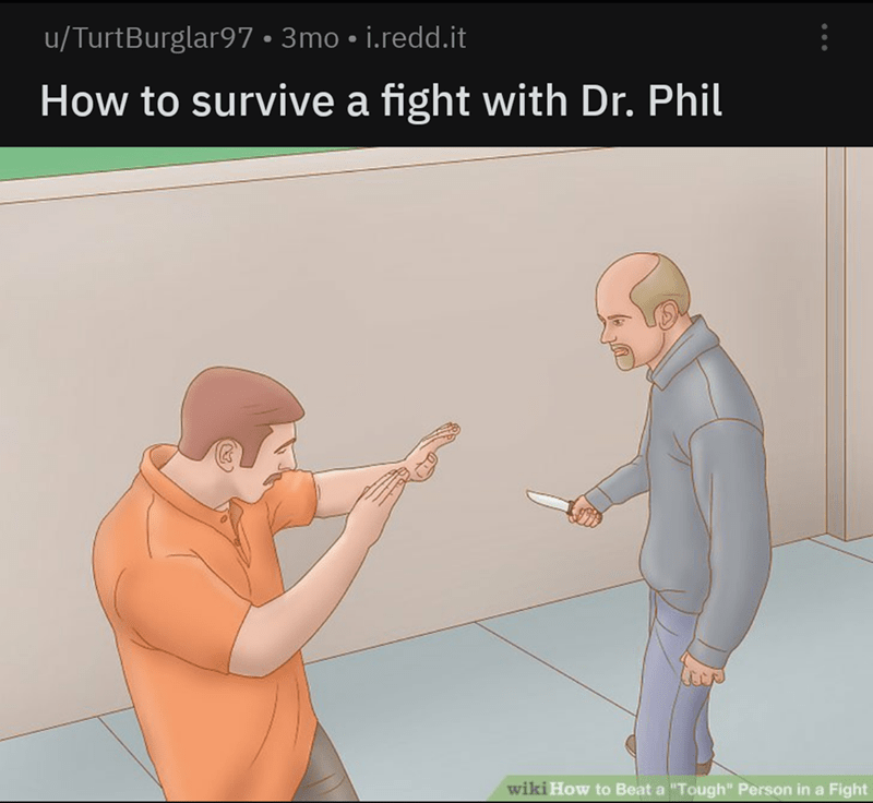 """savage - Cartoon - /TurtBurglar97 3mo i.redd.it How to survive a fight with Dr. Phil wiki How to Beat a """"Tough"""" Person in a Fight"""