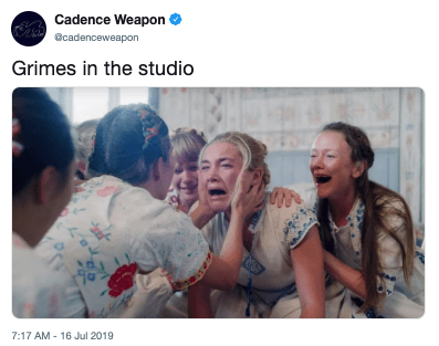 People - Cadence Weapon cadenceweapon Grimes in the studio 7:17 AM - 16 Jul 2019