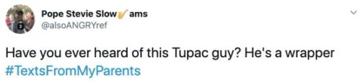 Text - Pope Stevie Slow @alsoANGRYref ams Have you ever heard of this Tupac guy? He's a wrapper #TextsFromMyParents