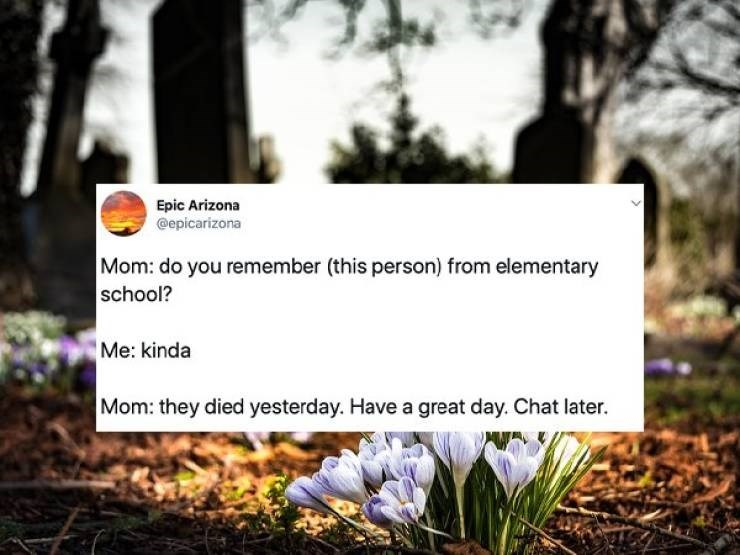embarrassing parents - Natural landscape - Epic Arizona @epicarizona Mom: do you remember (this person) from elementary school? Me: kinda Mom: they died yesterday. Have a great day. Chat later.
