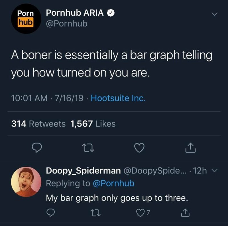 Text - Pornhub ARIA Porn hub @Pornhub A boner is essentially a bar graph telling you how turned on you are. 10:01 AM 7/16/19 Hootsuite Inc. 314 Retweets 1,567 Likes Doopy_Spiderman @DoopySpide... 12h Replying to @Pornhub My bar graph only goes up to three.