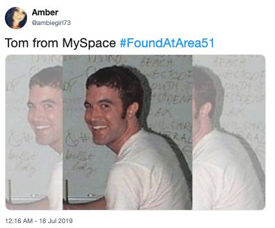 Face - Amber ambiegirl73 Tom from MySpace #FoundAtArea51 EACH ECRO SouTH 5HR ERAL &# 12:16 AM -18 Jul 2019