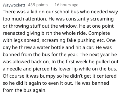 Text - Text - Waywockett 439 points 16 hours ago There was a kid on our school bus who needed way too much attention. He was constantly screaming or throwing stuff out the window. He at one point reenacted giving birth the whole ride. Complete with legs spread, screaming fake pushing etc. One day he threw a water bottle and hit a car. He was banned from the bus for the year. The next year he was allowed back on. In the first week he pulled out a needle and pierced his lower lip while on the bus.