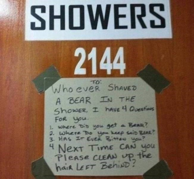 college meme - Text - SHOWERS 2144 TO: Who eveR ShavED A BEAR IN THE ShowER, I havE 4 Quesfi FOR you . where Dib you get a BeaR? . where TDo uon keep saio BEAR? 3 HAS IT EVER Bitte you? 4 NexT TimE CAN you PleAse CLEAN UP the haik LEFT BehisD?