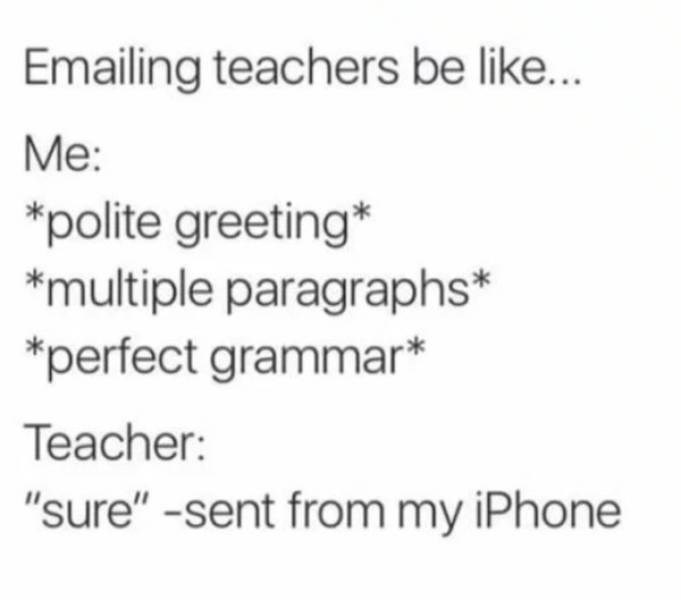 """college meme - Text - Emailing teachers be like... Me: *polite greeting* """"multiple paragraphs* perfect grammar* Teacher: """"sure"""" -sent from my iPhone"""
