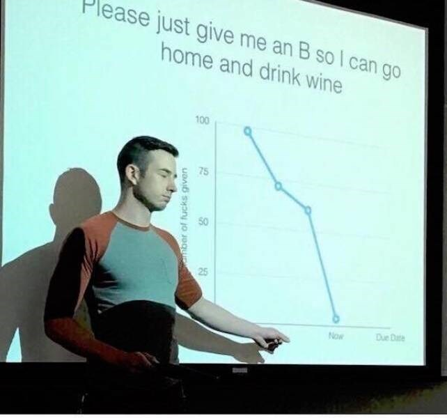 college meme - Presentation - ease just give me an B so I can go home and drink wine 100 75 25 Due D Now mber of fucks given