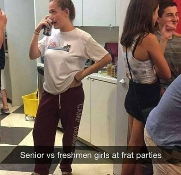 college meme - Clothing - Senior vs freshmen girls at frat parties CAMP HA