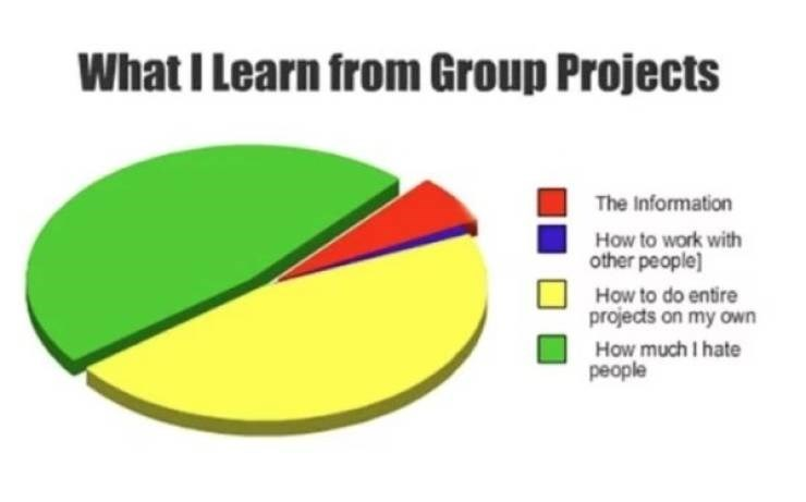 college meme - Green - What I Learn from Group Projects The Information How to work with other people] How to do entire projects on my own How much I hate people