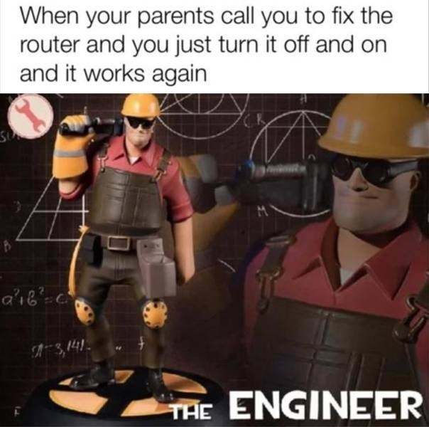 Action figure - When your parents call you to fix the router and you just turn it off and on and it works again 3,141 TAE ENGINEER