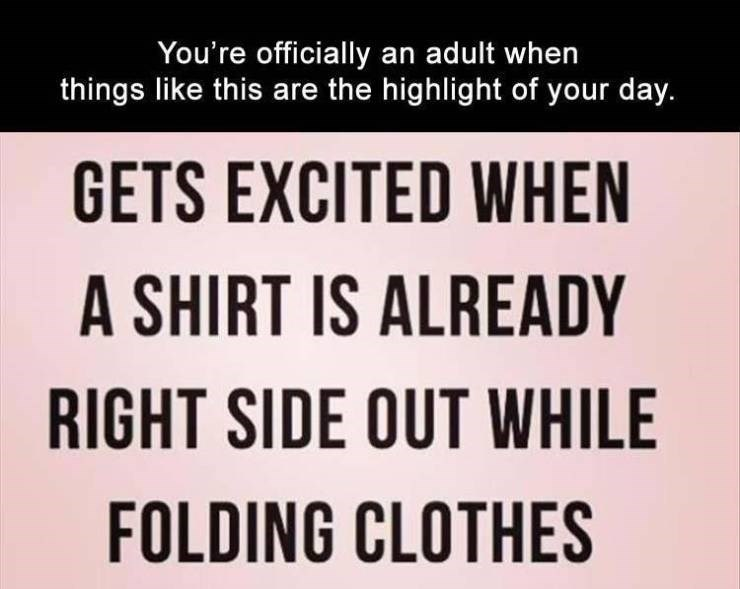 Text - You're officially an adult when things like this are the highlight of your day. GETS EXCITED WHEN A SHIRT IS ALREADY RIGHT SIDE OUT WHILE FOLDING CLOTHES