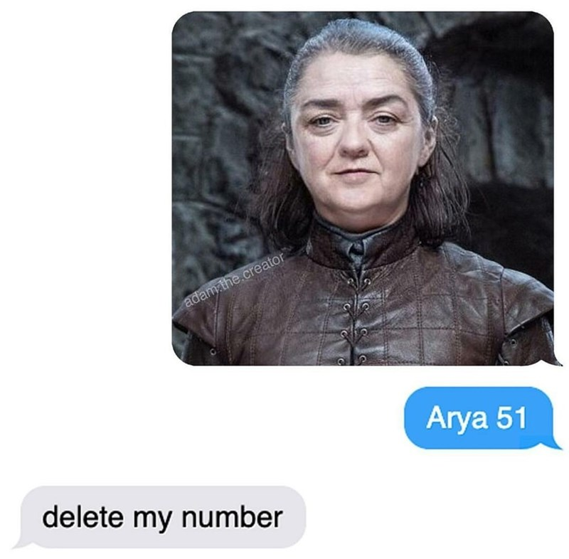 "Funny meme about ""Arya 51"" featuring Arya Stark with the FaceApp age filter"