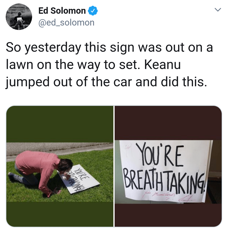 Text - Ed Solomon @ed_solomon So yesterday this sign lawn on the way to set. Keanu was out on a jumped out of the car and did this. YOU'RE BREATH TAKING YOURE ANNE