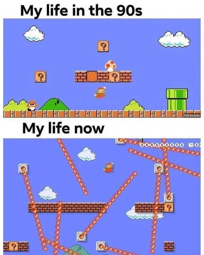 Line - My life in the 90s INintendo My life now LD oo000000 0