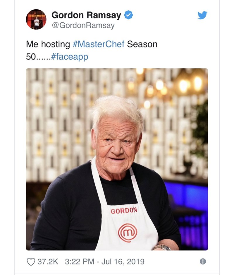 "Tweet - Gordon Ramsay - ""Me hosting #MasterChef Season 50"""