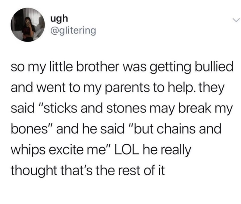 """Text - ugh @glitering so my little brother was getting bullied and went to my parents to help. they said """"sticks and stones may break my bones"""" and he said """"but chains and whips excite me"""" LOL he really thought that's the rest of it"""