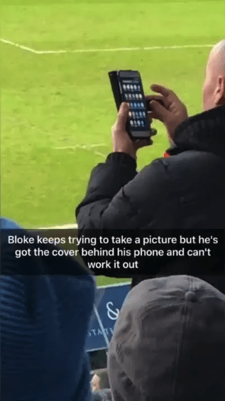 Photography - Bloke keeps trying to take a picture but he's got the cover behind his phone and can't work it out TAT