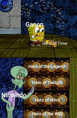 """Meme - """"Ganon Hero of Time Hero of the Legend Hero of Twilight Nintendo Hero of Wind Hero of the Wild"""""""