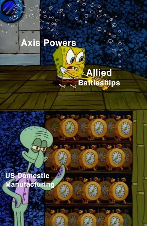 """Meme - """"Axis Powers Allied Battleships US Domestic Manufacturing"""""""
