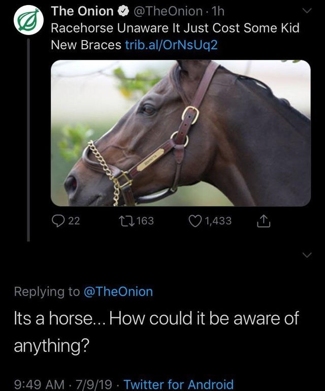 Halter - The Onion @TheOnion 1h Racehorse Unaware It Just Cost Some Kid New Braces trib.al/OrNsUq2 22 L163 1,433 Replying to @TheOnion Its a horse.. How could it be aware of anything? 9:49 AM 7/9/19 Twitter for Android www.