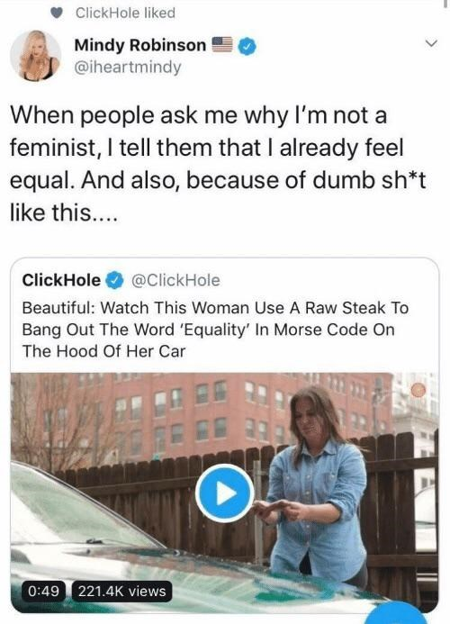 Text - ClickHole liked Mindy Robinson @iheartmindy When people ask me why I'm not a feminist, I tell them that I already feel equal. And also, because of dumb sh*t like this.... ClickHole @ClickHole Beautiful: Watch This Woman Use A Raw Steak To Bang Out The Word 'Equality' In Morse Code On The Hood Of Her Car 6E 221.4K views 0:49